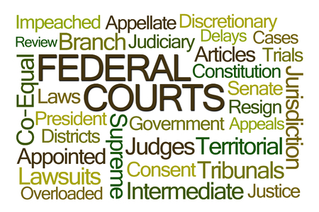 appellate: Federal Courts Word Cloud on White Background Stock Photo