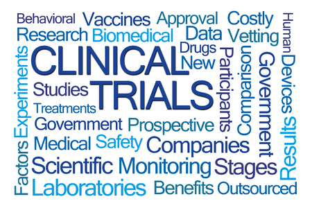 Clinical Trials Word Cloud on White Background Archivio Fotografico
