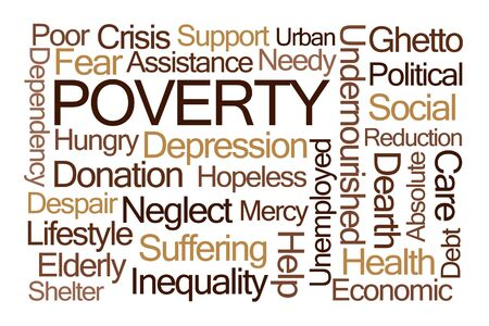 dearth: Poverty Word Cloud on White Background