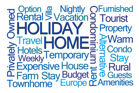 townhome: Holiday Home Word Cloud on White Background Stock Photo