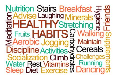 habitos saludables: Hábitos saludables nube de la palabra en el fondo blanco Foto de archivo