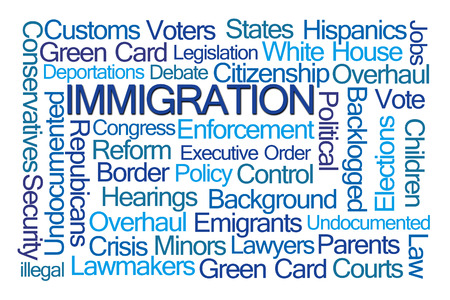 conservatives: Immigration Word Cloud on White Background