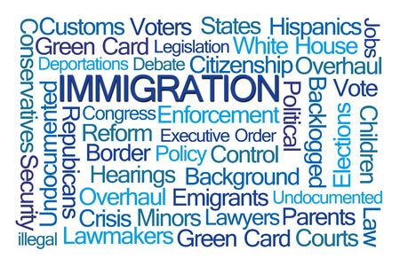 emigranti: Immigrazione Word Cloud su sfondo bianco