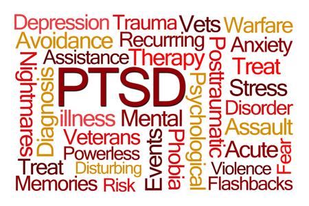 illness: PTSD Word Cloud on White Background