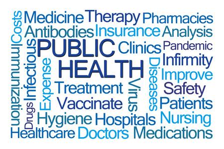 salud publica: Salud P�blica Nube de la palabra en el fondo blanco