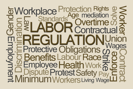 茶色の背景に労働規制単語の雲