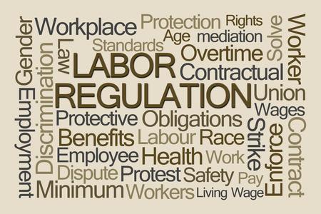 discriminacion: La regulación laboral nube de la palabra en el fondo de Brown Foto de archivo