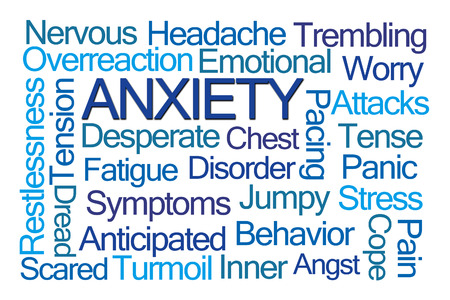 Anxiety Word Cloud on White Background Archivio Fotografico
