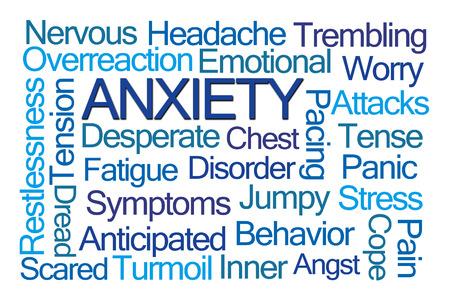 ansiedad: Ansiedad nube de la palabra en el fondo blanco Foto de archivo