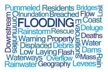 displaced: Flooding Word Cloud on White Background