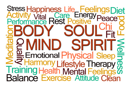 mind body soul: Body Mind Soul Spirit Word Cloud on White Background