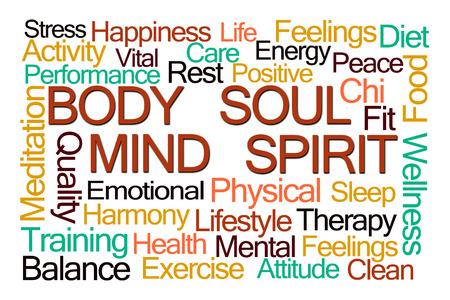 Body Mind Soul Spirit Word Cloud op een witte achtergrond