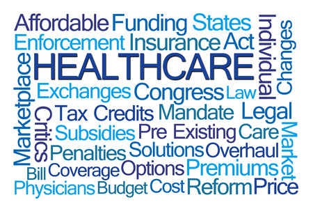 premiums: Healthcare Word Cloud on White Background Stock Photo