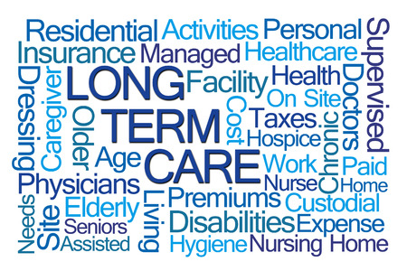 premiums: Long Term Care Word Cloud on White Background