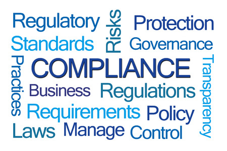 compliance: Compliance Word Cloud on White Background