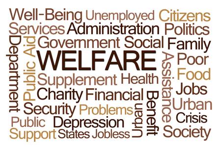 seguridad social: Bienestar nube de la palabra en el fondo blanco