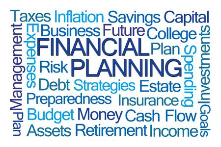 debt goals: Financial Planning Word Cloud on White Background