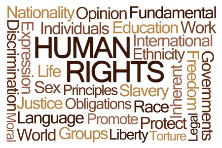 sex discrimination: Human Rights Word Cloud on White Background