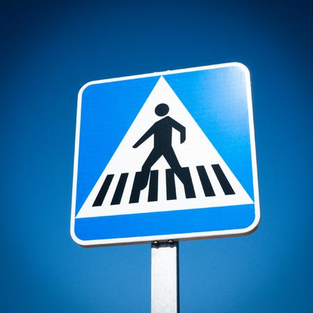 crosswalk: Pedestrian Crosswalk traffic road sign Stock Photo