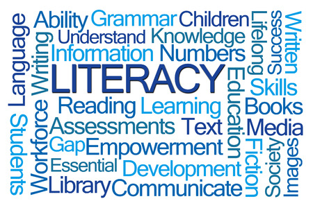 assessments: Literacy Word Cloud on White Background