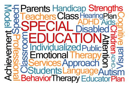 educators: Nube de la palabra Educación Especial en el fondo blanco Foto de archivo