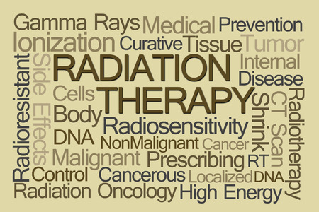 shrink: Radiation Therapy Word Cloud on Light Brown Background