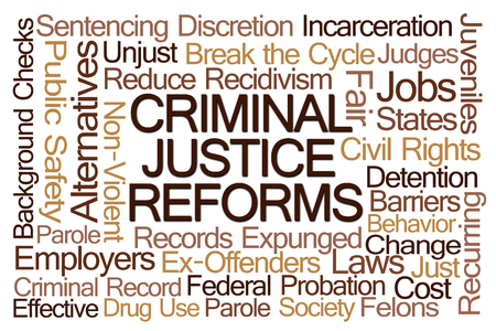 incarceration: Criminal Justice Reforms Word Cloud on White Background Stock Photo