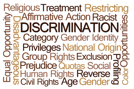 sex discrimination: Discrimination Word Cloud on White Background