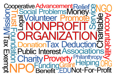 Nonprofit Organization Word Cloud on White Background Archivio Fotografico
