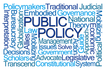 constitutional: Public Policy Word Cloud on White Background