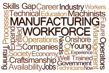 workforce: Manufacturing Workforce Word Cloud on White Background Stock Photo
