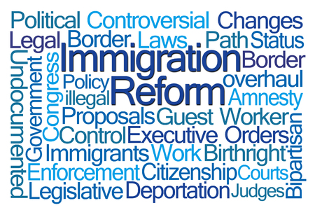 reform: Immigration Reform Word Cloud on White Background Stock Photo