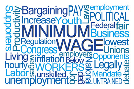 mandated: Minimum Wage Word Cloud on White Background