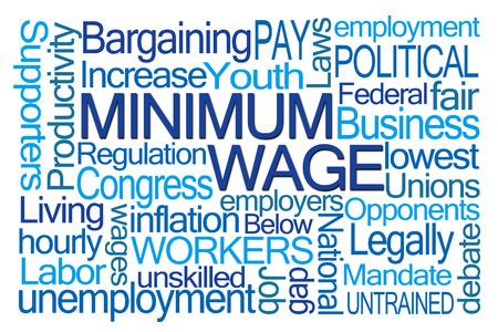 Minimumloon Word Cloud op een witte achtergrond