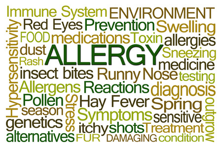 hypersensitivity: Allergy Word Cloud on White Background
