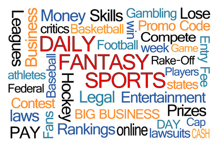 lawsuits: Daily Fantasy Sports Word Cloud on White Background Stock Photo