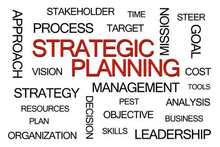planeaci�n estrategica: Planificaci�n Estrat�gica nube de la palabra en el fondo blanco