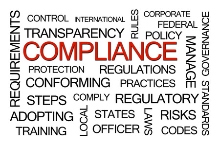 gobierno corporativo: Cumplimiento nube de la palabra en el fondo blanco