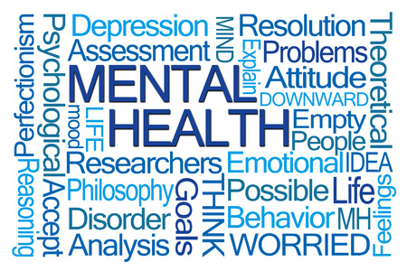 mental health problems: Mental Health Word Cloud on White Background