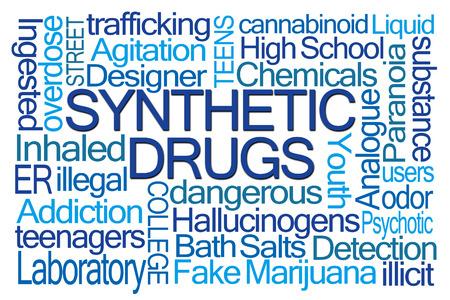 marihuana: Drogas sintéticas nube de la palabra en el fondo blanco