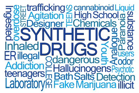 cannabinoid: Synthetic Drugs Word Cloud on White Background Stock Photo
