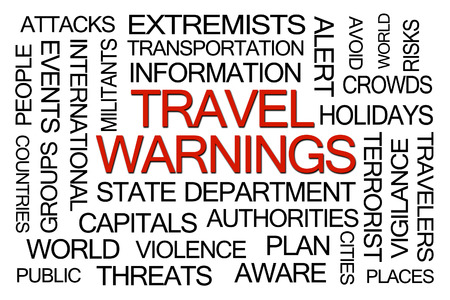 alert: Travel Warnings Word Cloud on White Background