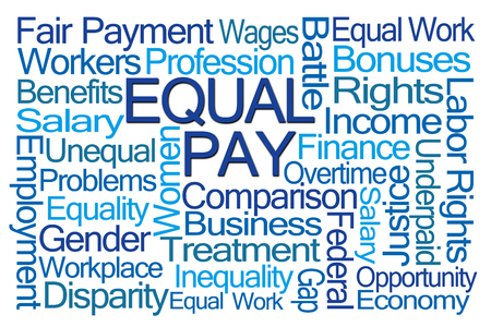 underpaid: Equal Pay Word Cloud on White Background