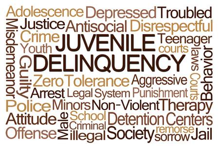 delincuencia: Delincuencia Juvenil nube de la palabra en el fondo blanco Foto de archivo