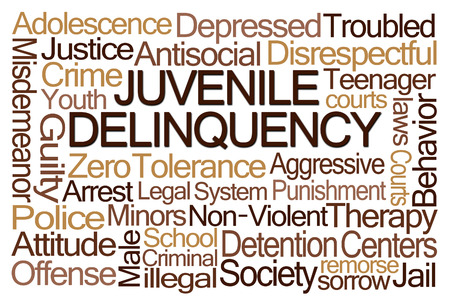 nonviolent: Juvenile Delinquency Word Cloud on White Background