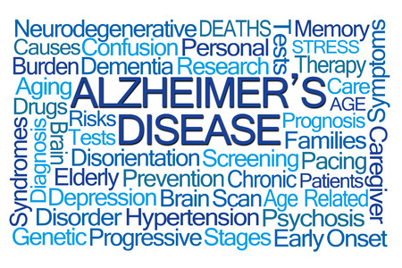 aging brain: Alzheimers Disease Word Cloud on White Background Stock Photo