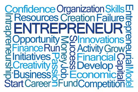 initiatives: Entrepreneur Word Cloud on White Background Stock Photo