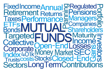 mutual funds: Mutual Funds Word Cloud on White Background Stock Photo