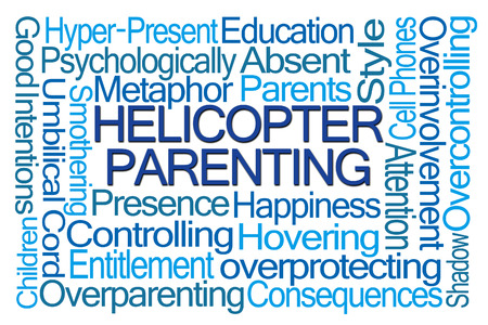 parent: Helicopter Parenting Word Cloud on White Background
