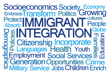 immigrant: Immigrant Integration Word Cloud on White Background Stock Photo